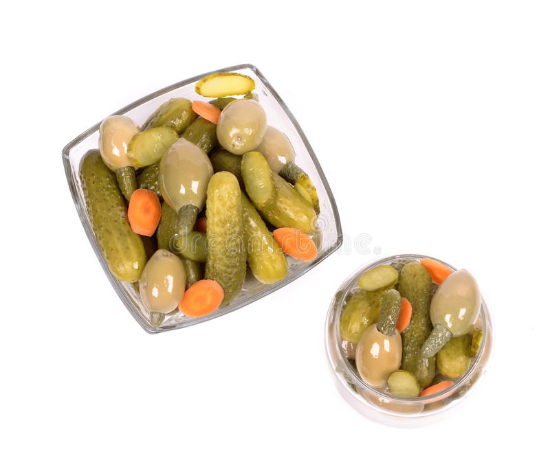 Cucumber salad with olives stock images