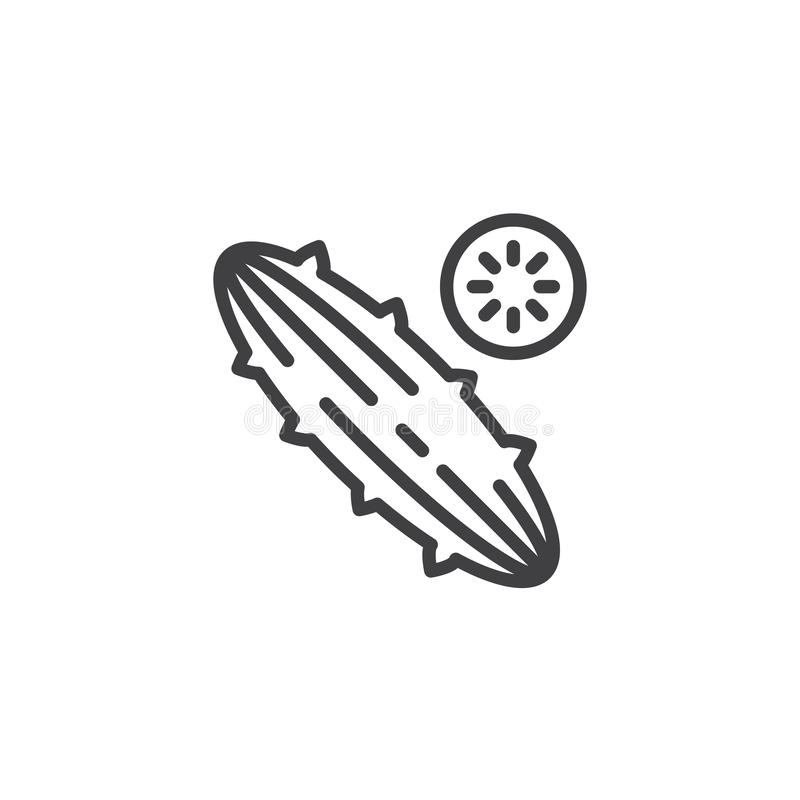 Cucumber slice line icon. Linear style sign for mobile concept and web design. Whole and slice cucumber outline vector icon. Symbol, logo illustration. Vector vector illustration