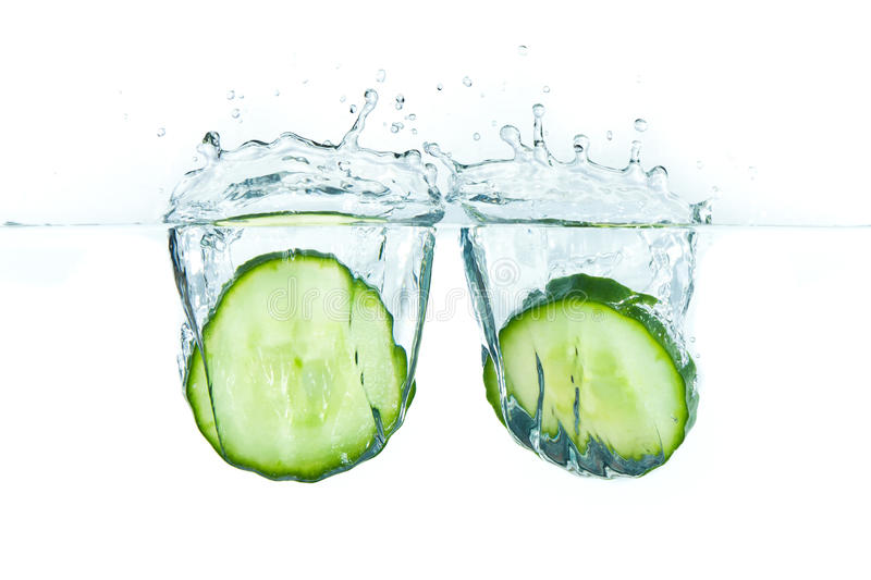 Cucumber in water royalty free stock photos