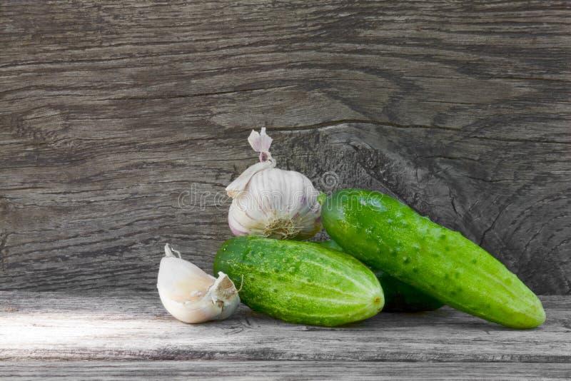 Cucumbers and garlic royalty free stock photos
