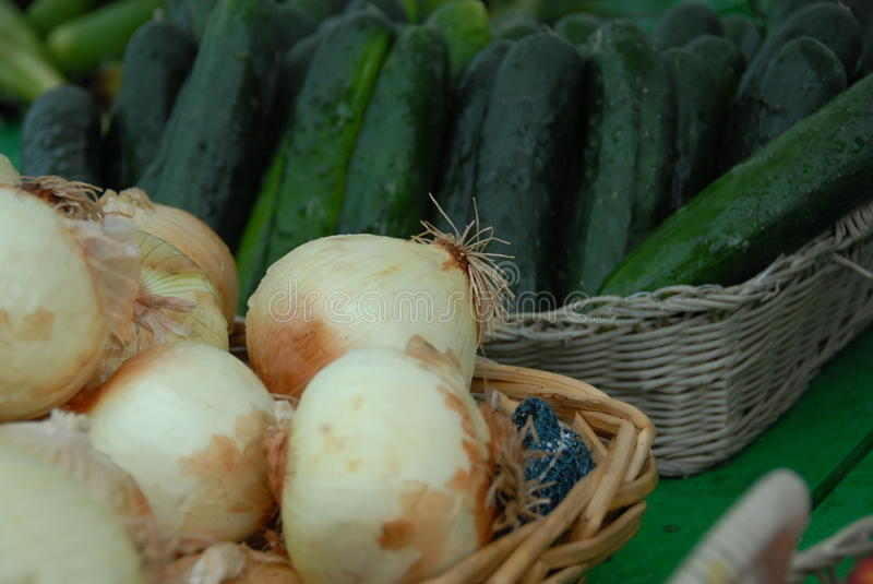 Cucumbers & Onions royalty free stock image