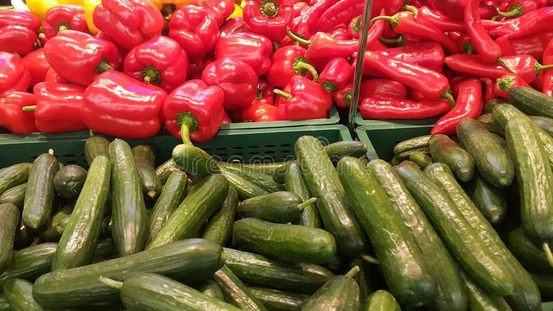 Cucumbers and peppers royalty free stock image