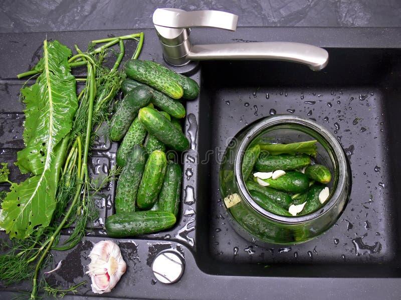 Cucumbers pickling stock photo