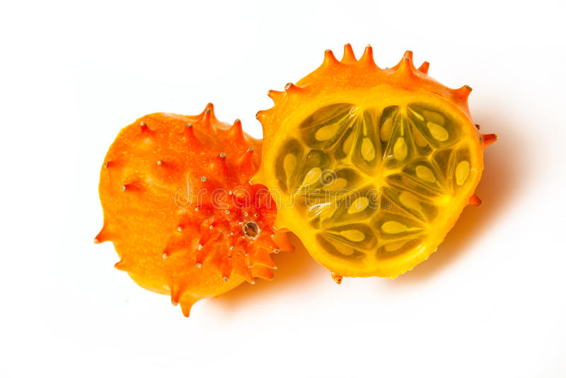 Cucumis metuliferus, gehörnte Melone oder kiwano stockbild