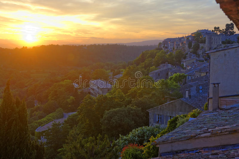 Cucuron in Provence France. Sunrise over Cucuron is a village in the Vaucluse Department, of the Provence-Alpes-Côte d'Azur region, in south eastern France royalty free stock photo