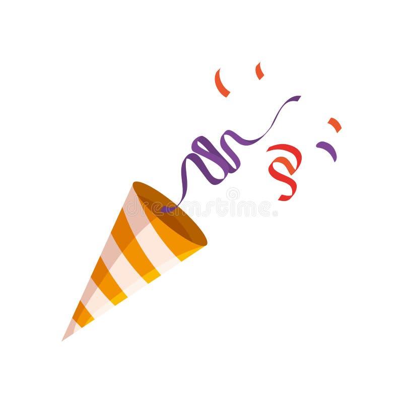Cucurucho del partido con confeti ilustración del vector