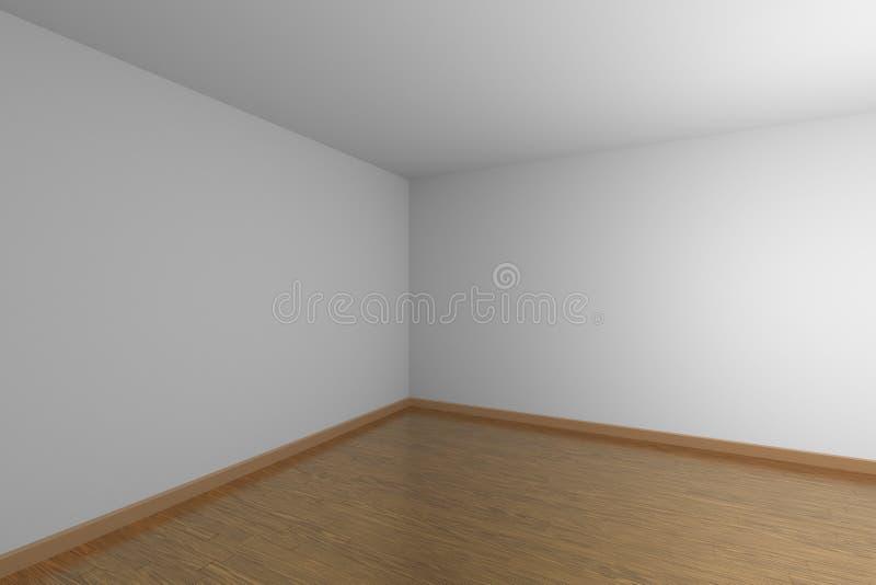 Cucurucho oscuro del sitio vacío blanco con el piso de entarimado de madera marrón ilustración del vector