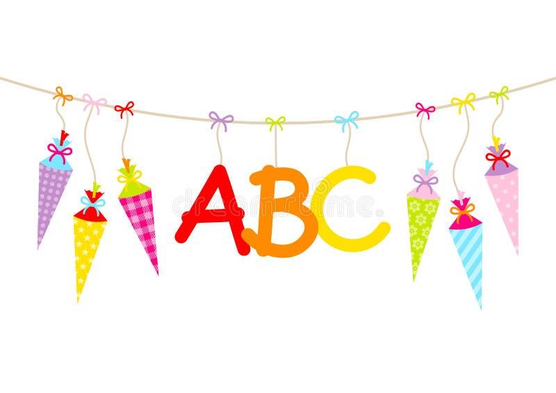 Cucuruchos de la escuela y letras coloridos colgantes de ABC stock de ilustración