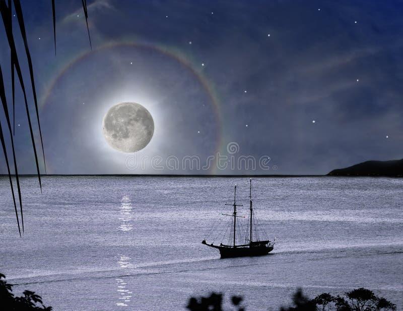Cud księżyc tęcza & raju żeglowania łódź obraz royalty free