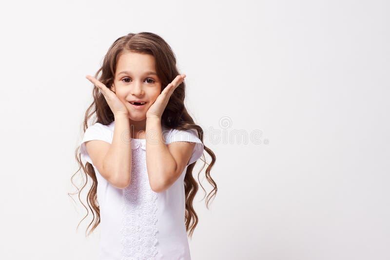 cud piękna dziewczyna trochę Biały tło fotografia royalty free
