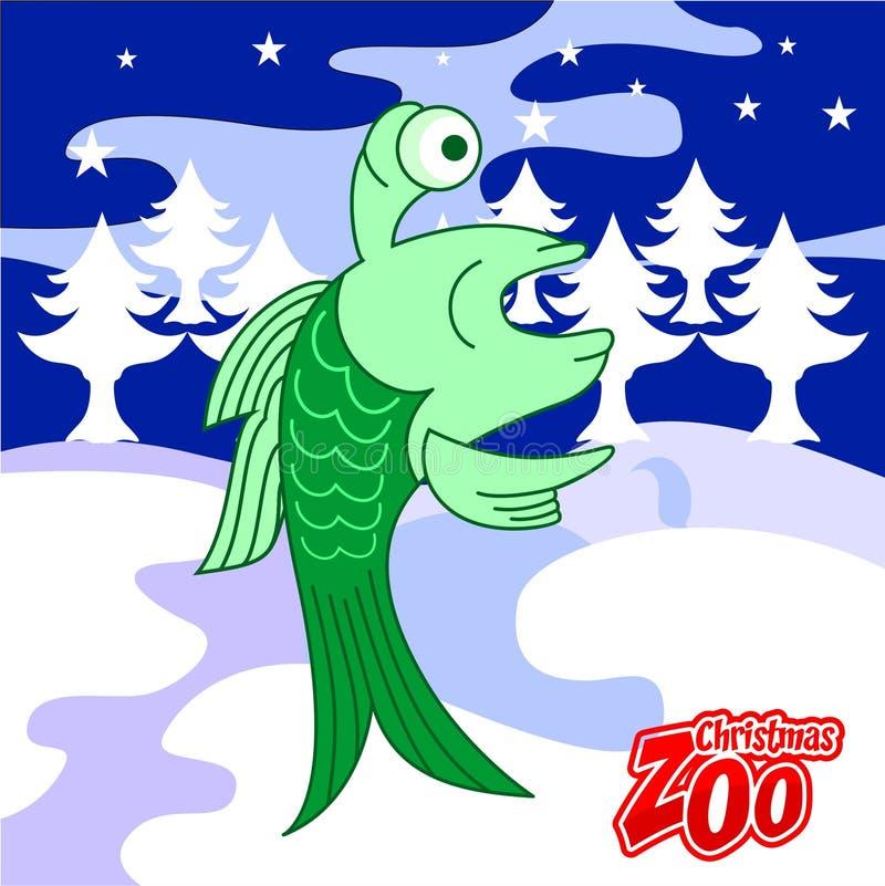 Cud Rybia kartka bożonarodzeniowa, Bożenarodzeniowy zoo royalty ilustracja