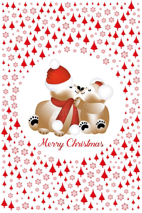 Cuddling teddy bears at Christmas framed by red trees and snowflakes stock illustration