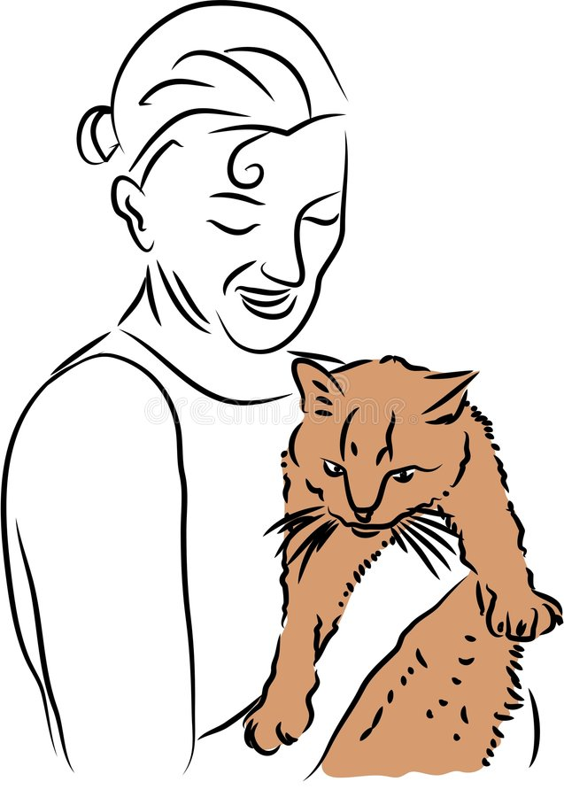 Download Cuddly Cat stock vector. Image of furry, animal, mammal - 141851