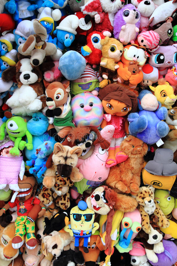 Cuddly toys collection. As nice color background royalty free stock image