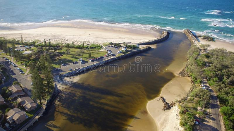 Cudgen Creek Headland Kingscliff Beach New South Wales Australië royalty-vrije stock afbeeldingen