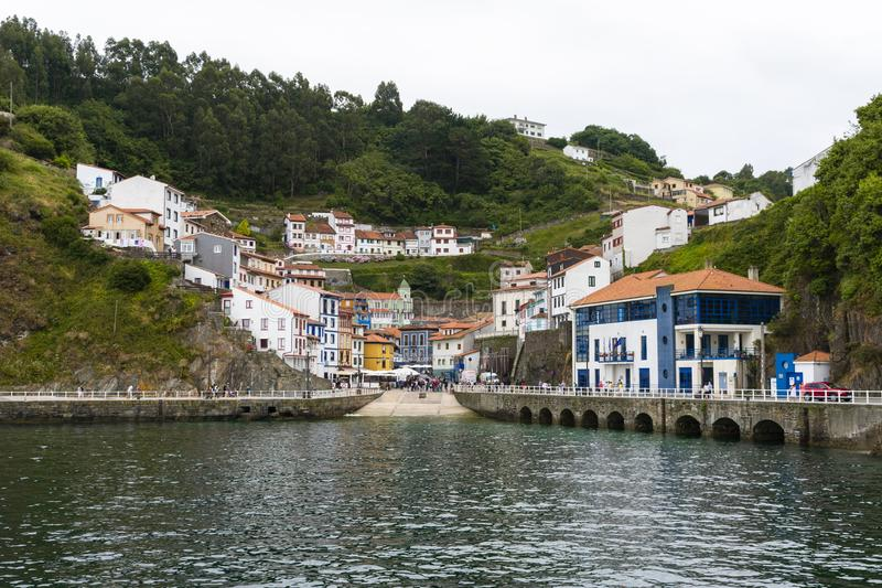 Cudillero, a famous fishing village in Asturias and one of the most beautiful villages in Spain. View of Cudillero, a famous fishing village in Asturias and one royalty free stock photo