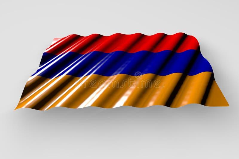 Cudowna hymnu dnia flagi 3d ilustracja - błyszcząca flaga Armenia z wielkim fałdu kłamstwem odizolowywającym na popielatym royalty ilustracja