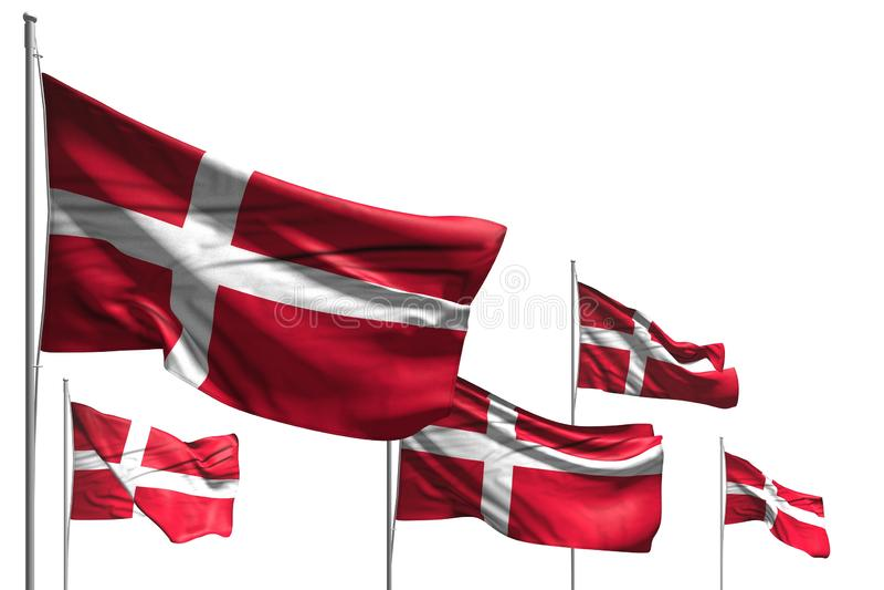 Cudowna hymnu dnia flagi 3d ilustracja - pięć flag Dani są falą odizolowywającym na bielu ilustracja wektor