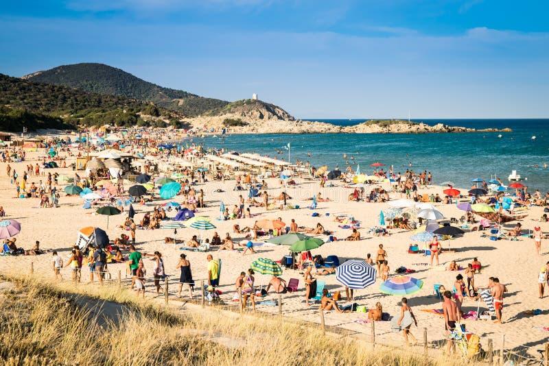 Cudowne plaże podpalany Chia, Sardinia, Włochy zdjęcia royalty free