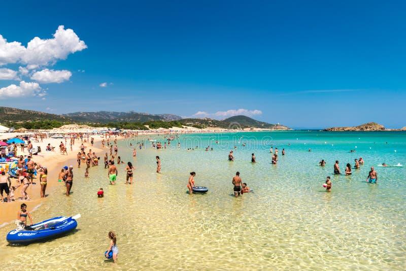 Cudowne plaże podpalany Chia, Sardinia, Włochy obraz stock