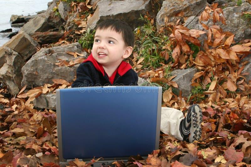 cudowny chłopiec laptopa liście obraz royalty free