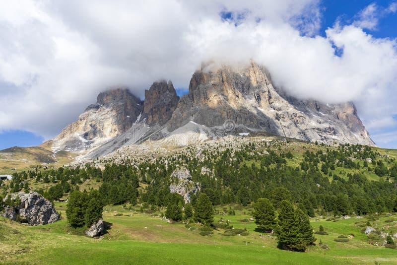 Cudowny lato widok Sassolungo dolomity W?ochy zdjęcia royalty free