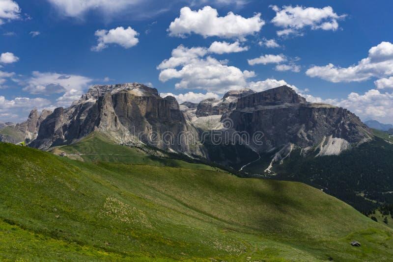 Cudowny lato widok Sella grupa dolomity Włochy zdjęcia royalty free
