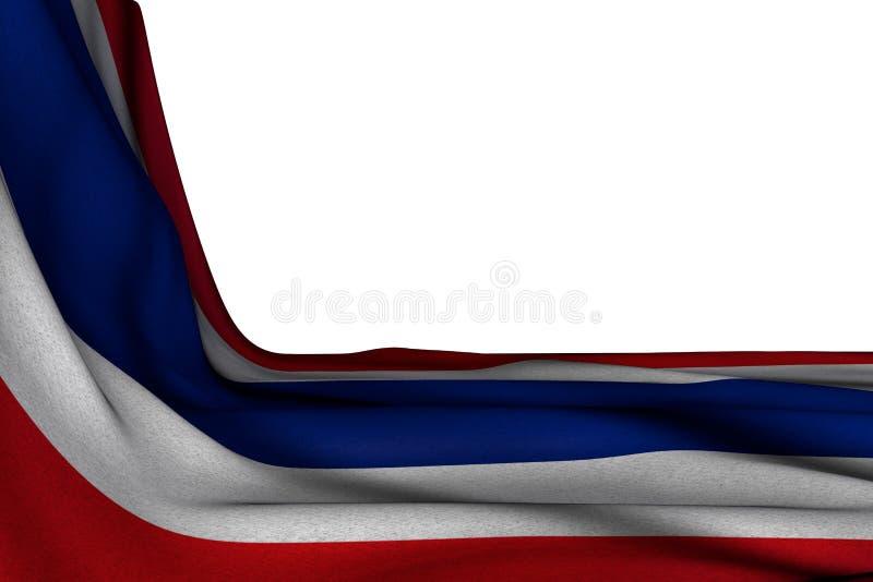 Cudowny odosobniony mockup Tajlandia flaga wiesza w kącie na bielu z pustą przestrzenią dla teksta - jakaś okazji flagi 3d ilustr royalty ilustracja