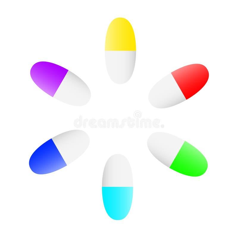 Cudowny projekt piękne barwione pigułki ilustracja wektor
