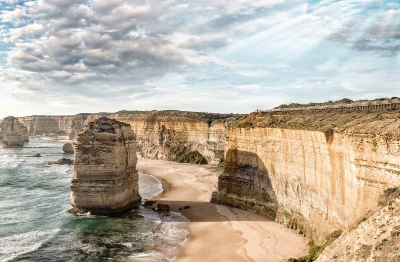 Cudowny widok z lotu ptaka 12 apostoła w Wiktoria, Australia zdjęcia royalty free