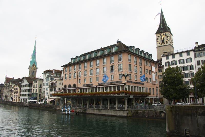 Cudowny wieczór bank Zurich rzeka obrazy royalty free