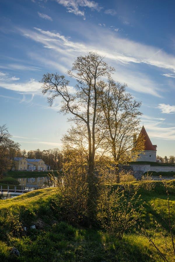 Cudowny wiosna ranek w Kuressaare miasteczku fotografia royalty free
