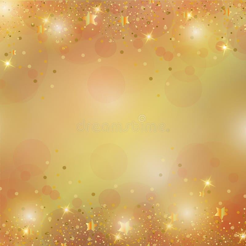 Cudowny złocisty błyskotliwy Bożenarodzeniowy tło ilustracji
