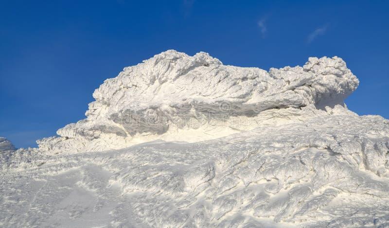 Cudowny zima krajobraz na słonecznym dniu Irrealna, fantastyczna, mistyczna, marznąca tekstura z mrozem, lód i śnieg, zdjęcie stock