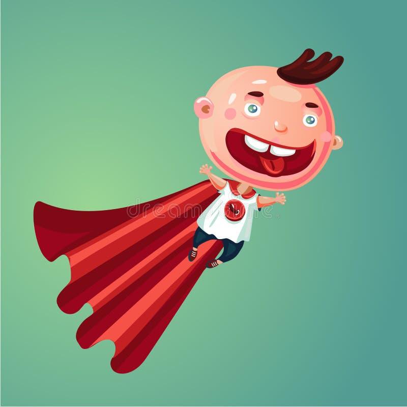 Cudu dziecko Super chłopiec Śmieszny małe dziecko w super bohatera kostiumu Humor kreskówki ilustracja royalty ilustracja