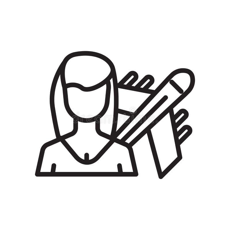 Cudzoziemski reporter ikony wektoru znak i symbol odizolowywający na białym tle, Cudzoziemski reportera loga pojęcie ilustracji