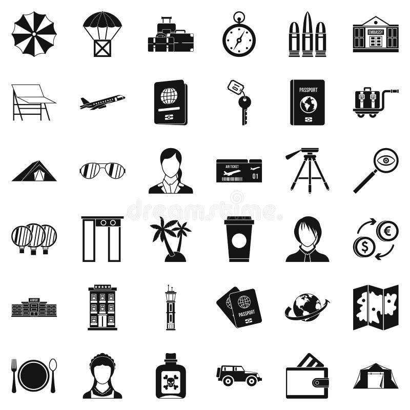 Cudzoziemskie paszportowe ikony ustawiać, prosty styl ilustracja wektor