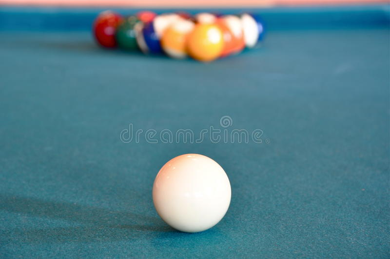 Download Cue Ball and Rack stock image. Image of table, billiards - 20712621