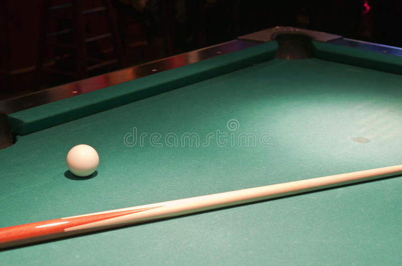 Cue Ball And Stick On Pool Table Royalty Free Stock Image