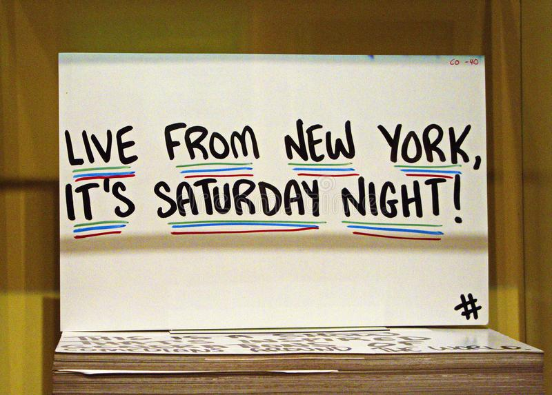 Cue Cards at SNL Exhibition in NYC royalty free stock photo