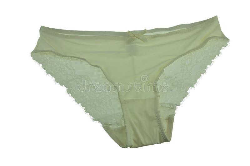 Cuecas de seda verde do laço isolada no fundo branco Unde verde fotos de stock royalty free