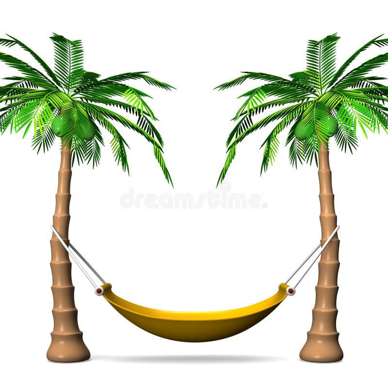 Cuelgue de una hamaca en las palmeras altas Front View ilustración del vector