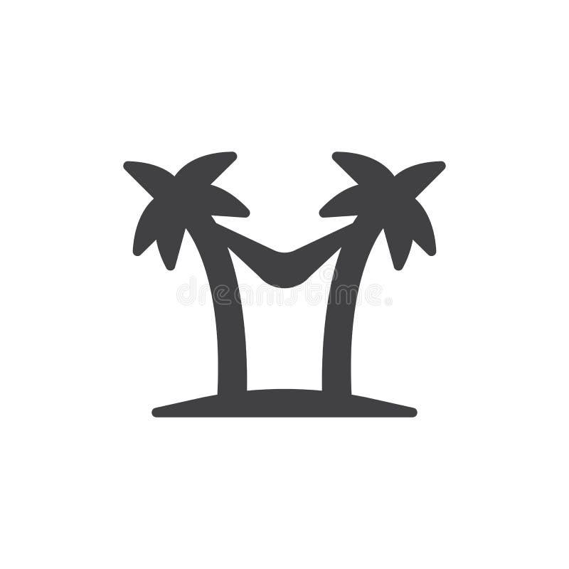 Cuelgue de una hamaca entre el icono del vector de los árboles de palmas stock de ilustración