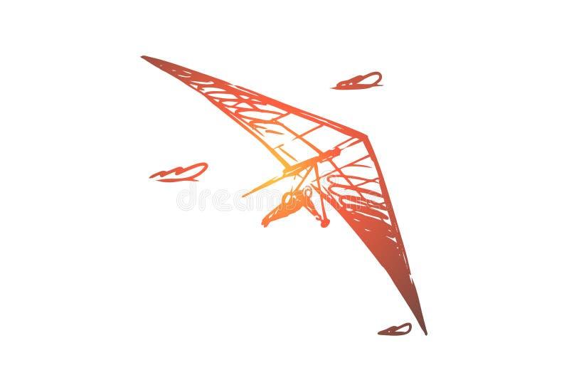 Cuelgue el planeador, extremo, cielo, deporte, concepto de la mosca Vector aislado dibujado mano stock de ilustración