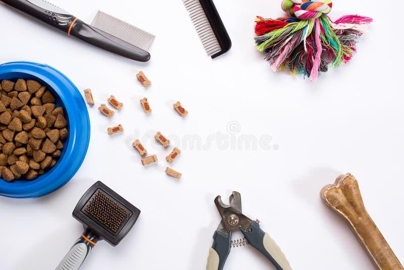 Cuello, cuenco azul con la alimentación, correo, delicadeza, peines y cepillos para los perros En el fondo blanco fotos de archivo libres de regalías