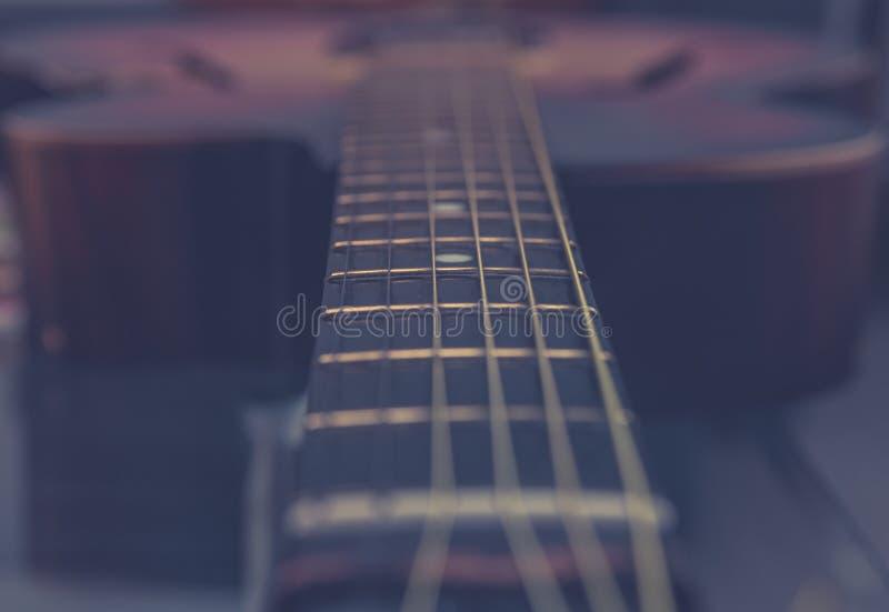 Cuello de la guitarra, secuencias, trastes, fotos de archivo