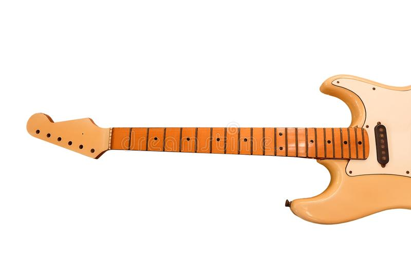 Cuello vacío Fretboard de la guitarra eléctrica en el fondo blanco fotos de archivo libres de regalías