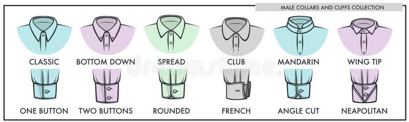 Cuellos y puños masculinos de la colección clásica de las camisas libre illustration