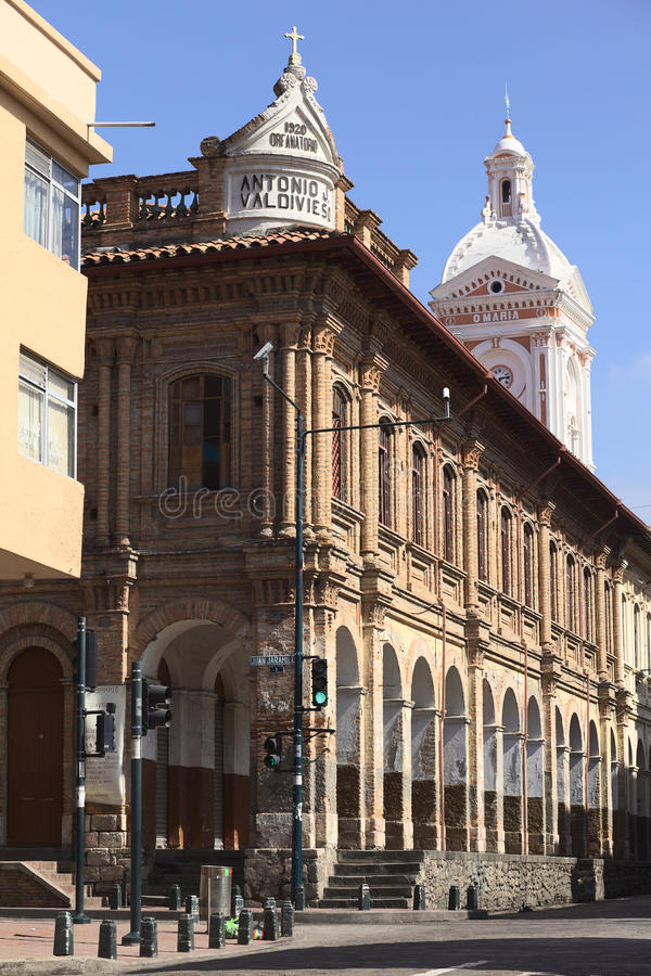 Cuenca, Ecuador. FEBRUARY 13, 2014: The building of the San Francisco Parish on the corner of the streets Juan Jaramillo and Padre Aguirre on February 13 stock images