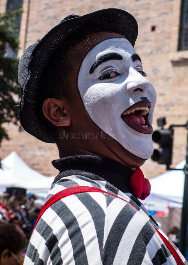 Cuenca, Ecuador / November 3, 2015 -A mime clown entertains the stock image